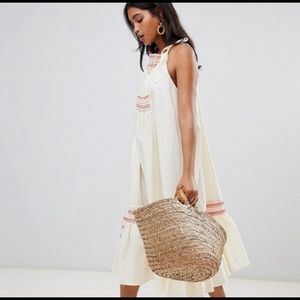 Free People embroidered smocked Maxi